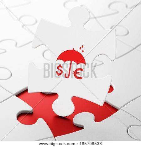 Safety concept: Money And Umbrella on White puzzle pieces background, 3D rendering