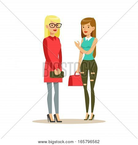 Happy Best Friends Meet On The Street Standing Chatting, Part Of Friendship Illustration Series. Smiling Cartoon Vector Characters Spending Time With Their Buddies And Mates.