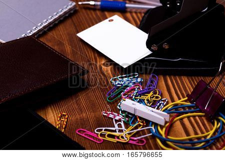 Stationery: Notebook, Clips, Pen, Wallet, Rubber, Hole Puncher, Rubber Band