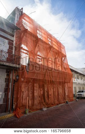 June 15, 2016 Panama City, Panama: closeup of a building under renovation historical building in the Casco Viejo area of the capital city