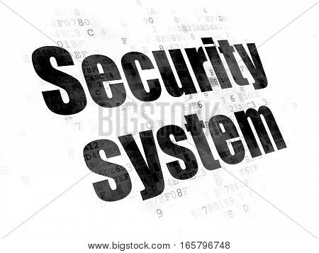 Safety concept: Pixelated black text Security System on Digital background