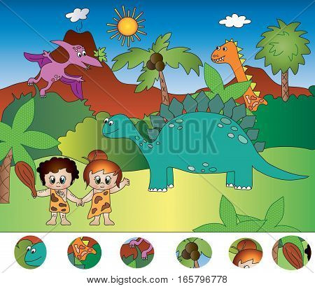 Pre-historic game for children: find the icons visual game