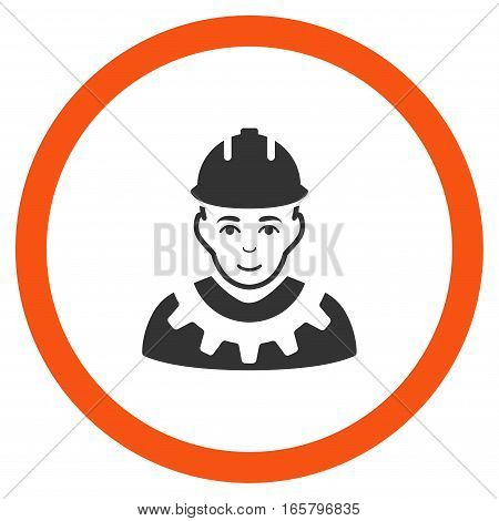 Industrial Builder vector bicolor rounded icon. Image style is a flat icon symbol inside a circle, orange and gray colors, white background.