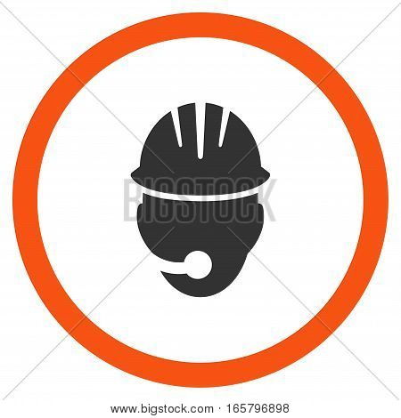 Industrial Operator vector bicolor rounded icon. Image style is a flat icon symbol inside a circle, orange and gray colors, white background.