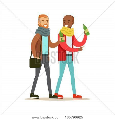Happy Best Friends Having A Drink After Work , Part Of Friendship Illustration Series. Smiling Cartoon Vector Characters Spending Time With Their Buddies And Mates.