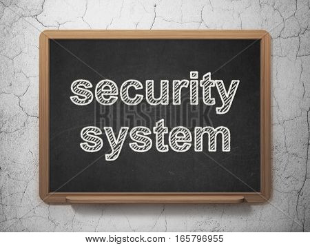 Protection concept: text Security System on Black chalkboard on grunge wall background, 3D rendering