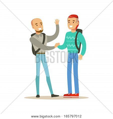 Happy Best Friends Shaking Hands Meeting, Part Of Friendship Illustration Series. Smiling Cartoon Vector Characters Spending Time With Their Buddies And Mates.