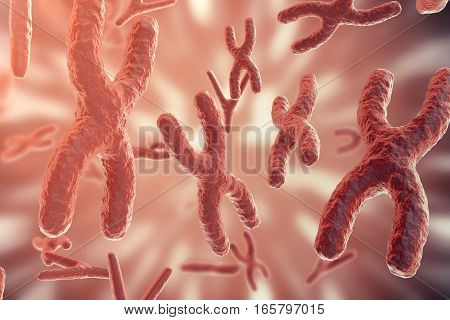 Science background with Chromosomes . Medicine scientific concept, 3d rendering