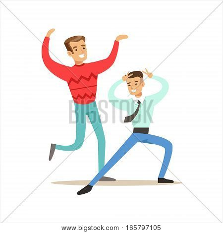 Happy Best Friends Dancing In Night Club Party , Part Of Friendship Illustration Series. Smiling Cartoon Vector Characters Spending Time With Their Buddies And Mates.