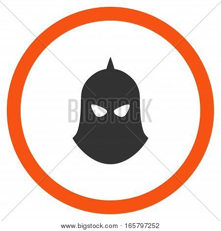 Knight Helmet vector bicolor rounded icon. Image style is a flat icon symbol inside a circle, orange and gray colors, white background.