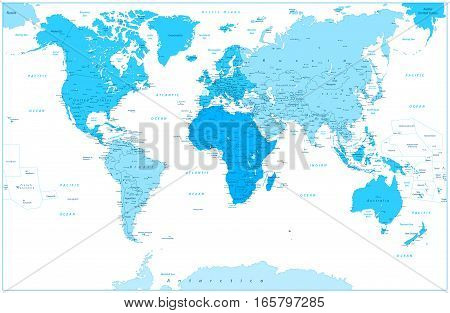 World Map and continents in colors of blue isolated on white. Highly detailed vector illustration of World Map.