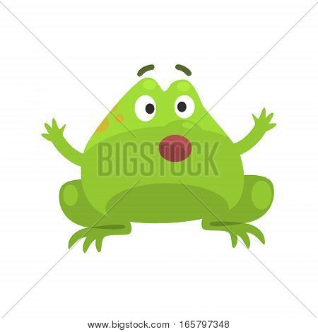 Green Frog Shocked Funny Character Childish Cartoon Illustration. Flat Bright Color Isolated Funny Toad Life Situation Vector Sticker.