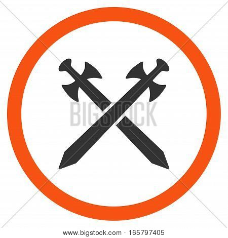 Medieval Swords vector bicolor rounded icon. Image style is a flat icon symbol inside a circle, orange and gray colors, white background.