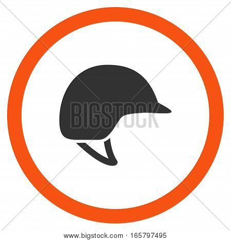 Motorcycle Helmet vector bicolor rounded icon. Image style is a flat icon symbol inside a circle, orange and gray colors, white background.