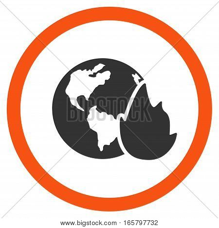 Planet Flame vector bicolor rounded icon. Image style is a flat icon symbol inside a circle, orange and gray colors, white background.