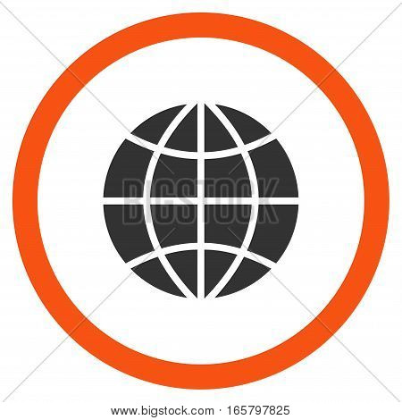 Planet Globe vector bicolor rounded icon. Image style is a flat icon symbol inside a circle, orange and gray colors, white background.