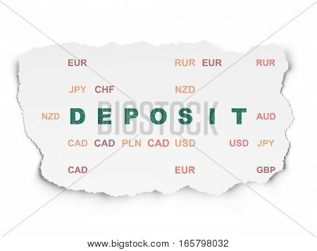 Banking concept: Painted green text Deposit on Torn Paper background with  Currency