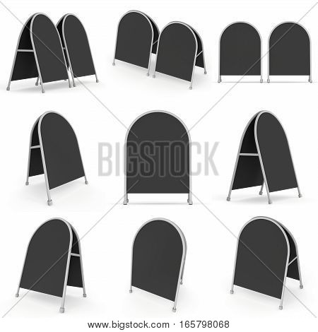 Sandwich board. Black menu outdoor display with clipping path. Trade show booth white and blank. 3d render isolated on white background. High Resolution Template for your design.