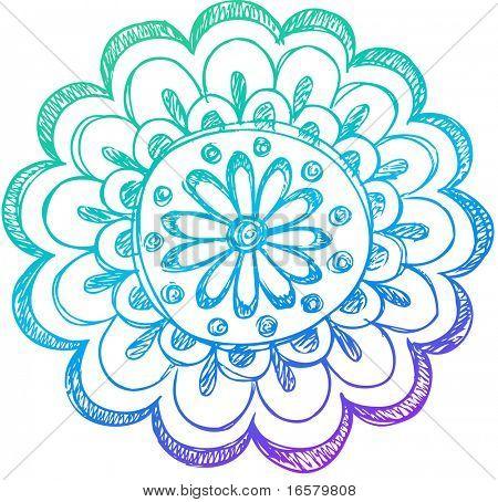 Sketchy Doodle Henna Flower Vector Illustration