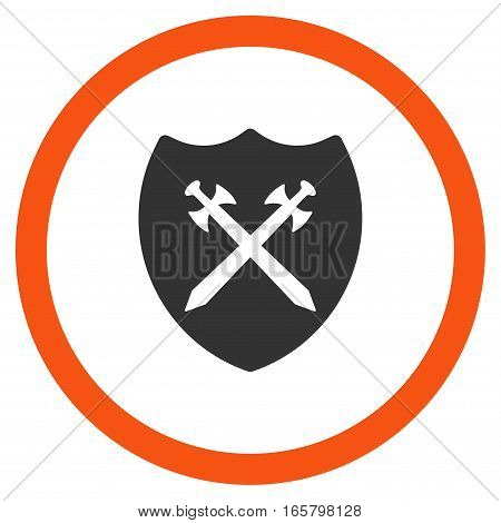 Security Shield vector bicolor rounded icon. Image style is a flat icon symbol inside a circle, orange and gray colors, white background.
