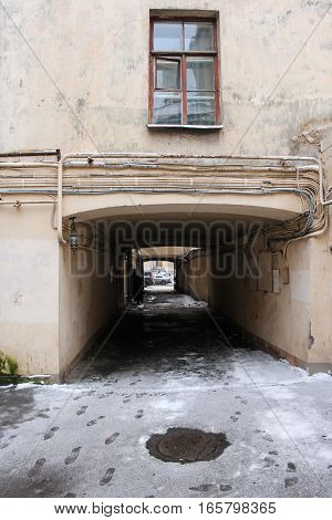 Thoroughfare of St. Petersburg. Town houses and streets in the winter snow.
