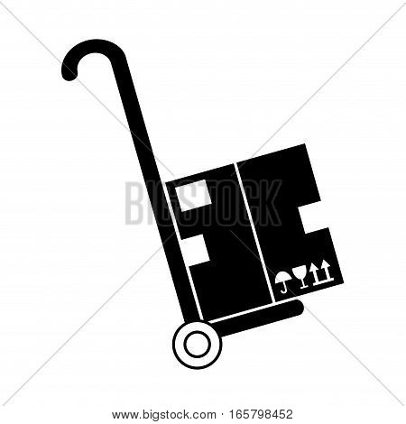 handcart with a carton box over white background. vector illustration