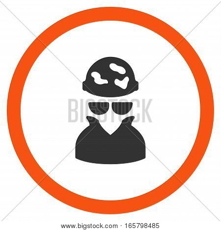 Spotted Spy vector bicolor rounded icon. Image style is a flat icon symbol inside a circle, orange and gray colors, white background.