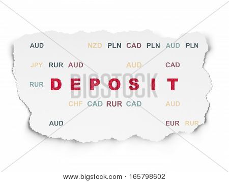 Banking concept: Painted red text Deposit on Torn Paper background with  Currency