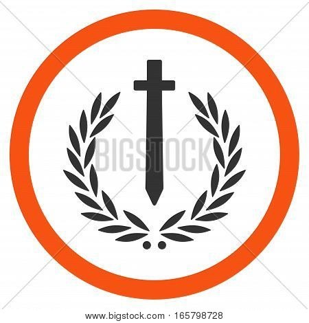 Sword Honor Embleme vector bicolor rounded icon. Image style is a flat icon symbol inside a circle, orange and gray colors, white background.
