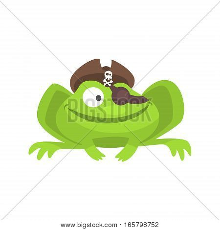Green Frog Funny Character With Pirate Hat And Eye Patch Smiling Childish Cartoon Illustration. Flat Bright Color Isolated Funny Toad Life Situation Vector Sticker.