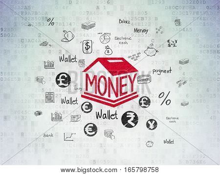 Money concept: Painted red Money Box icon on Digital Data Paper background with  Hand Drawn Finance Icons