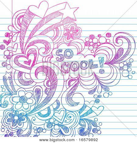 Hand-Drawn Sketchy Doodles on Lined Notebook Paper Vector