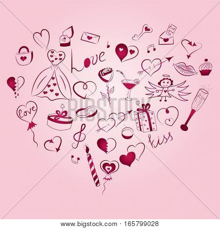 Hand Drawn Set of Valentine's Day Symbols. Children's Funny Doodle Drawings of Red Hearts Gifts Rings Balloons Arranged in a shape of Heart. Sketch Style. Vector Illustration