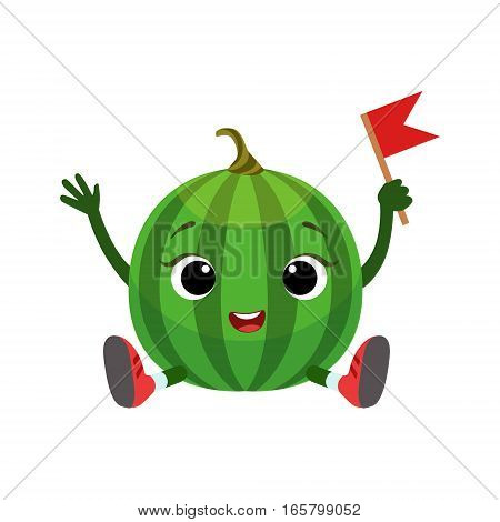 Big Eyed Cute Girly Watermelon Character Sitting, Emoji Sticker With Baby Fruit