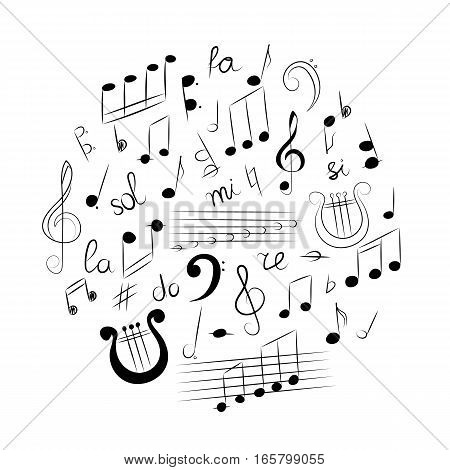 Hand Drawn Set of Music Symbols. Doodle Treble Clef Bass Clef Notes and Lyre Arranged in a Cirlce. Vector Illustration.