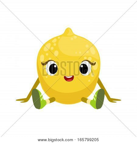 Big Eyed Cute Girly Lemon Character Sitting, Emoji Sticker With Baby Fruit. Cartoon Humanized Character Colorful Vector Icon.