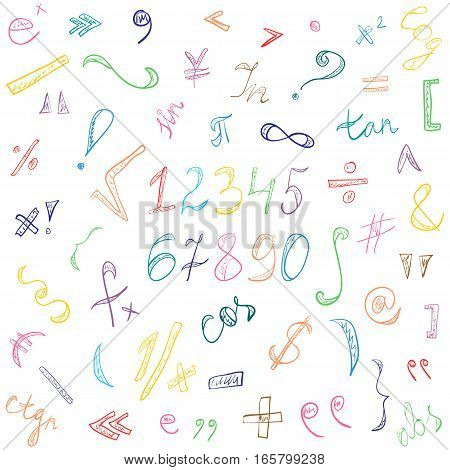 Colorful Hand Drawn Doodle Symbols and Numbers. Scribble Signs Isolated on White. Vector Illustration.