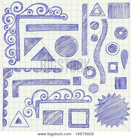 Hand-Drawn Sketchy Doodle Design Elements on Graph (Grid) Notebook Paper Vector