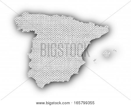 Map Of Spain On Old Linen