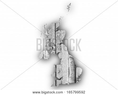 Map Of Great Britain On Wood,