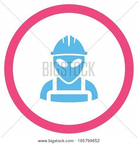 Alien Worker vector bicolor rounded icon. Image style is a flat icon symbol inside a circle, pink and blue colors, white background.