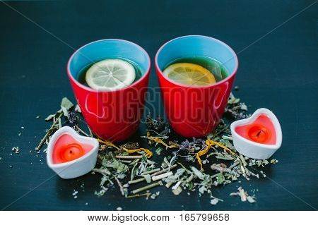 Two cups of tea for lovers. Valentine's day