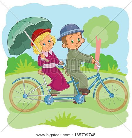 Vector illustration of small children riding on a tandem bike