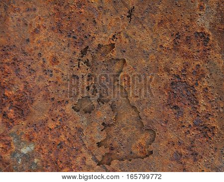 Map Of Great Britain On Rusty Metal,