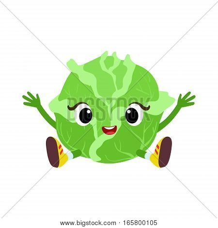 Big Eyed Cute Girly Cabbage Character Sitting, Emoji Sticker With Baby Vegetable. Cartoon Humanized Character Colorful Vector Icon.