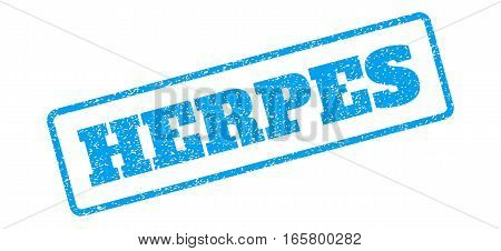 Blue rubber seal stamp with Herpes text. Vector message inside rounded rectangular banner. Grunge design and dirty texture for watermark labels. Inclined sign on a white background.