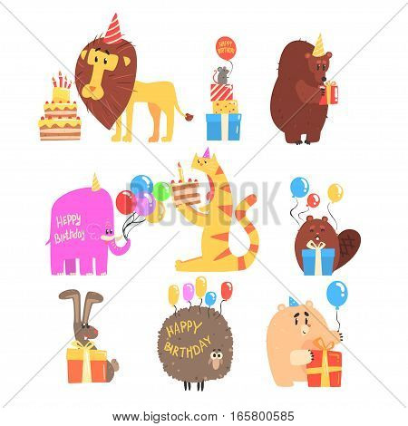 Funky Animals With Party Attributes At The Kids Happy Birthday Celebration Collection Of Cartoon Fauna Characters. Comic Vector Illustrations With Festive Accessories And Zoo Animals.