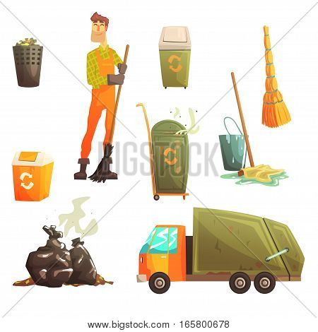 Waste Recycling And Disposal Related Object Around Garbage Collector Man Collection Of Cartoon Bright Icons. Trash Cleaning Professional In Dungarees And His Equipment Vector Illustration