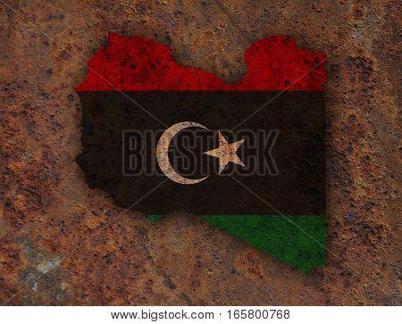 Map And Flag Of Libya On Rusty Metal