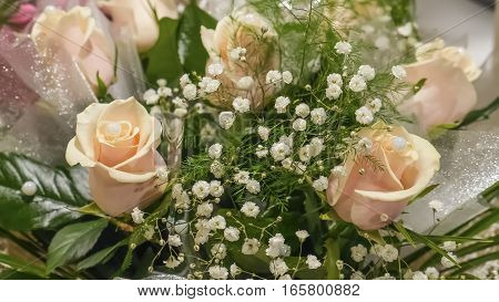 The beautiful bouquet of fresh beige roses